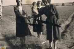 1952r. Krzykowice koło Wolborza - Maria Wojciechowska, Barbara Ogórek i koleżanka z córką
